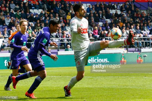 Konstantinos Laifis defender of Standard Liege pictured during the Jupiler Pro League match between RSC Anderlecht and Standard de Liege at the...