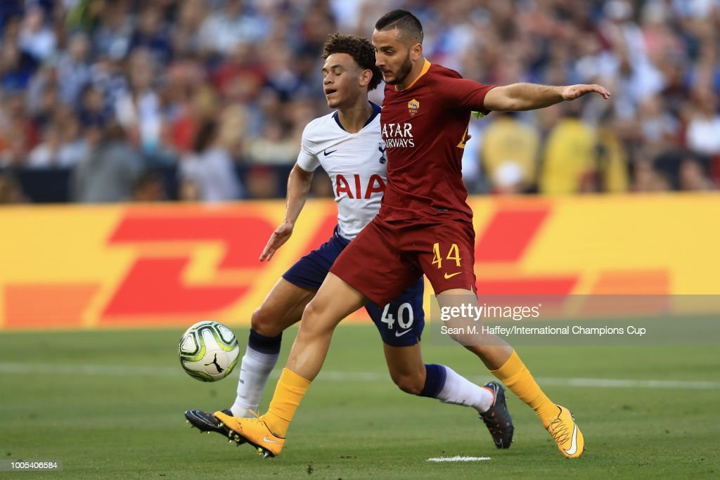 Konstantinos Manolas #44 of A.S. Roma and Brandon Austin #49 of Tottenham Hotspur battle for the position during an International Champions Cup match at SDCCU Stadium on July 25, 2018 in San Diego, California.