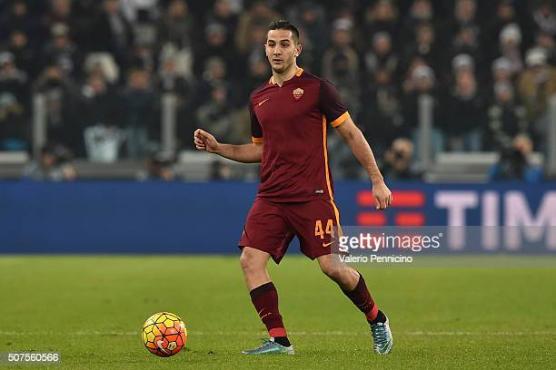 Konstantinos Manolas of AS Roma in action during the Serie A match between Juventus FC and AS Roma at Juventus Arena on January 24 2016 in Turin Italy