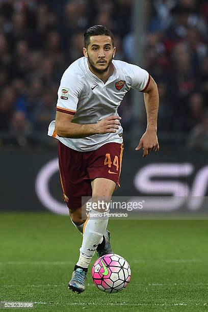 Konstantinos Manolas of AS Roma in action during the Serie A match between Genoa CFC and AS Roma at Stadio Luigi Ferraris on May 2 2016 in Genoa Italy