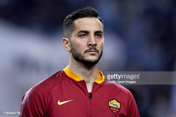 Konstantinos Manolas of AS Roma looks on prior to the UEFA Champions League Round of 16 Second Leg match between FC Porto and AS Roma at Estadio do...