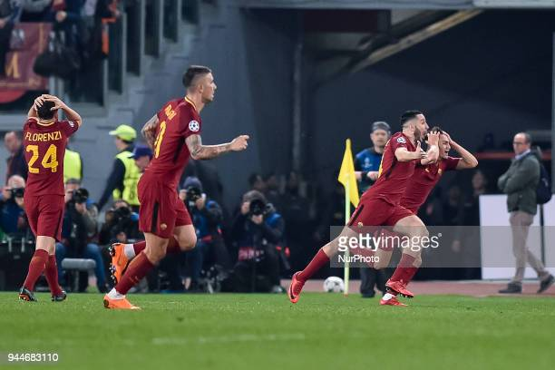 Konstantinos Manolas of Roma celebrates scoring third goal during the UEFA Champions League Quarter Final match between Roma and FC Barcelona at...