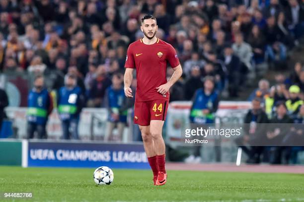 Konstantinos Manolas of Roma during the UEFA Champions League Quarter Final match between Roma and FC Barcelona at Stadio Olimpico Rome Italy on 10...