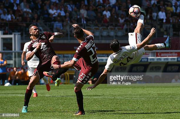 Konstantinos Manolas of Roma in action during the Serie A match between FC Torino and AS Roma at Stadio Olimpico di Torino on September 25 2016 in...