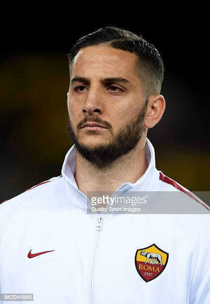 Konstantinos Manolas of Roma looks on prior to the UEFA Champions League Quarter Final Leg One match between FC Barcelona and AS Roma at Camp Nou on...