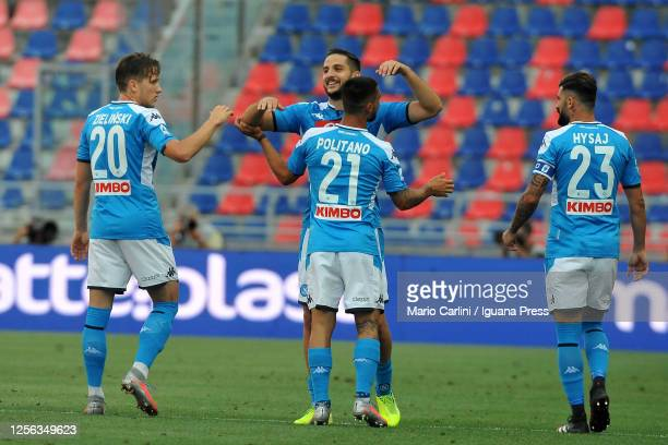Konstantinos Manolas of SSC Napoli celebrates after scoring the opening goal during the Serie A match between Bologna FC and SSC Napoli at Stadio...