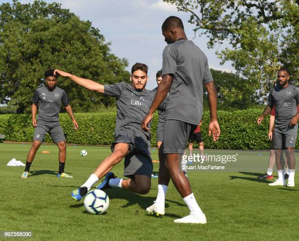 Konstantinos Mavropanos and Ainsley MaitlandNiles of Arsenal during a training session at London Colney on July 5 2018 in St Albans England