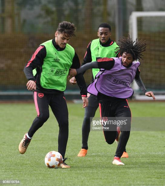 Konstantinos Mavropanos and Mohamed Elneny of Arsenal during the Arsenal Training Session at London Colney on March 7 2018 in St Albans England
