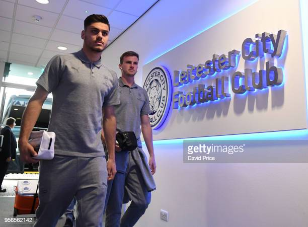 Konstantinos Mavropanos and Rob Holding of Arsenal before the Premier League match between Leicester City and Arsenal at The King Power Stadium on...