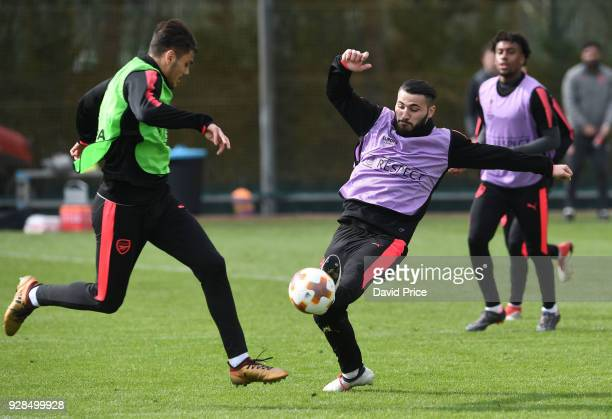 Konstantinos Mavropanos and Sead Kolasinac of Arsenal during the Arsenal Training Session at London Colney on March 7 2018 in St Albans England