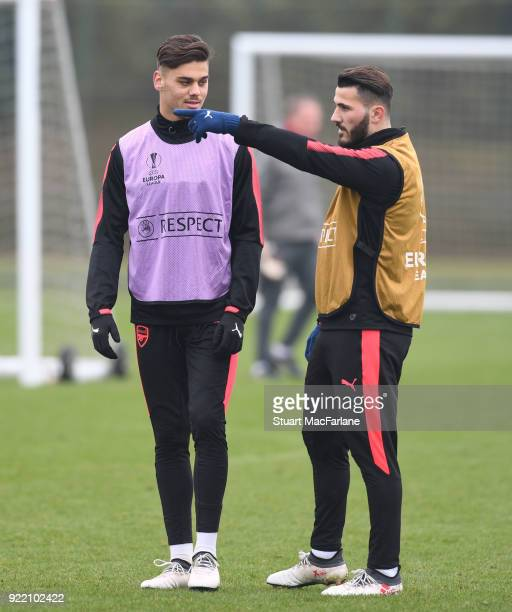 Konstantinos Mavropanos and Shkodran Mustafi of Arsenal during a training session at London Colney on February 21 2018 in St Albans England