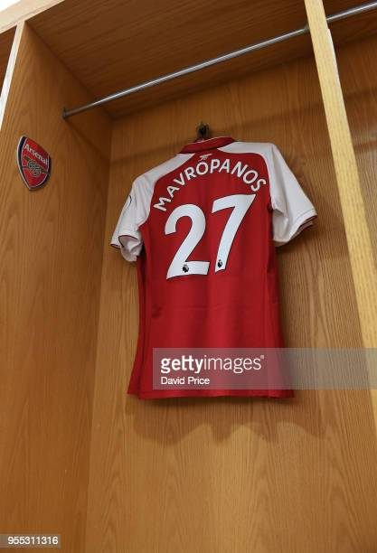 Konstantinos Mavropanos Arsenal shirt before the Premier League match between Arsenal and Burnley at Emirates Stadium on May 6 2018 in London England