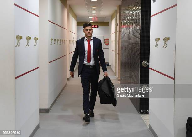 Konstantinos Mavropanos in the Arsenal changing room before the Premier League match between Arsenal and Burnley at Emirates Stadium on May 6 2018 in...
