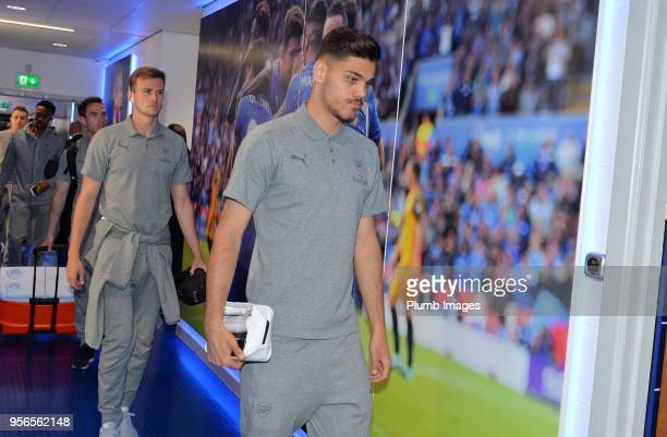 Konstantinos Mavropanos of Arsenal arrives at King Power Stadium ahead of the Premier League match between Leicester City and Arsenal at King Power...