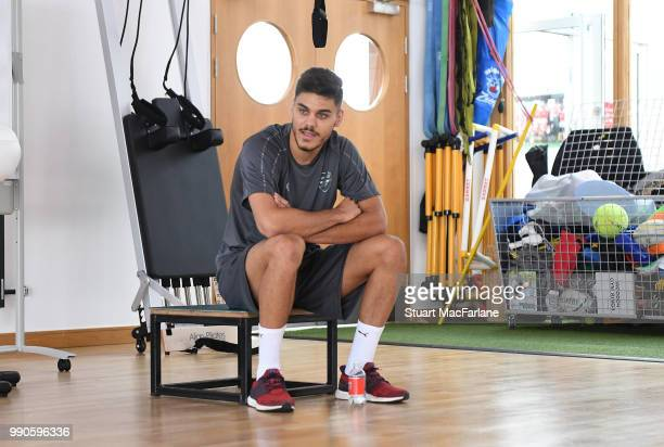 Konstantinos Mavropanos of Arsenal attends a medical screening session at London Colney on July 3 2018 in St Albans England