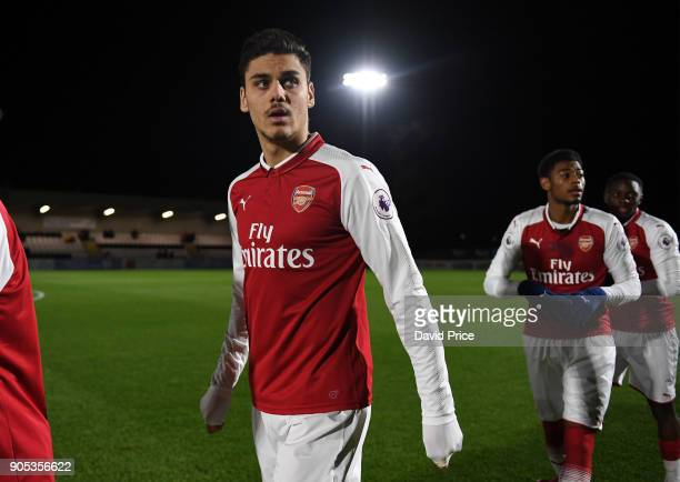 Konstantinos Mavropanos of Arsenal before the Premier League 22 match between Arsenal and Manchester United at Meadow Park on January 15 2018 in...