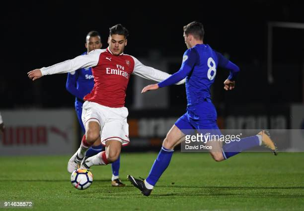 Konstantinos Mavropanos of Arsenal challenges Conor Grant of Everton during the Premier League 2 match between Arsenal and Everton at Meadow Park on...