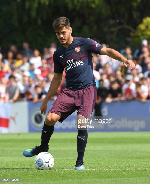 Konstantinos Mavropanos of Arsenal controls the ball during the match between Borehamwood and Arsenal at Meadow Park on July 14 2018 in Borehamwood...