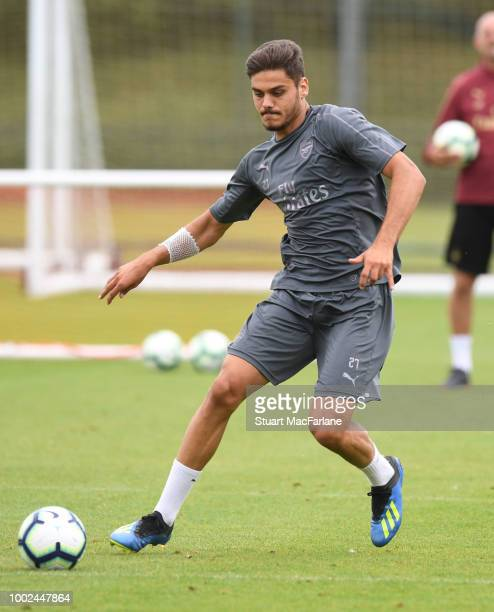 Konstantinos Mavropanos of Arsenal during a training session at London Colney on July 20 2018 in St Albans England
