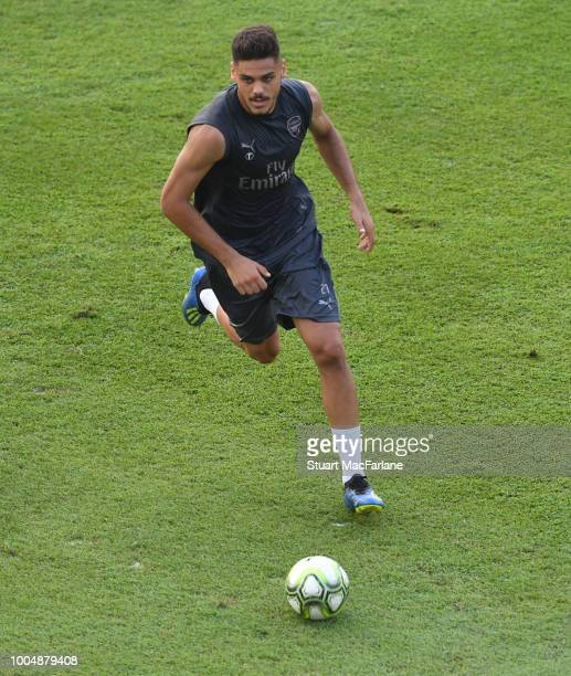 Konstantinos Mavropanos of Arsenal during a training session at Singapore American School on July 24 2018 in Singapore