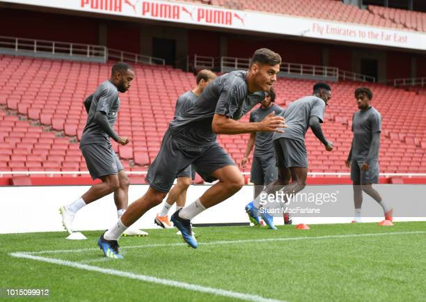 Konstantinos Mavropanos of Arsenal during a training session at Emirates Stadium on August 11 2018 in London England