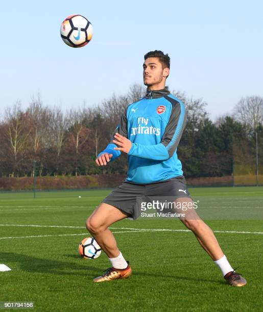 Konstantinos Mavropanos of Arsenal during a training session at London Colney on January 6 2018 in St Albans England