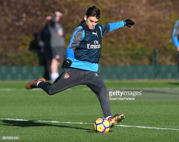 Konstantinos Mavropanos of Arsenal during a training session at London Colney on January 19 2018 in St Albans England