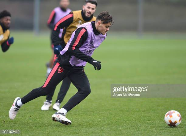 Konstantinos Mavropanos of Arsenal during a training session at London Colney on February 21 2018 in St Albans England