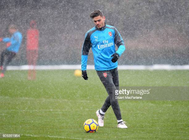 Konstantinos Mavropanos of Arsenal during a training session at London Colney on February 28 2018 in St Albans England