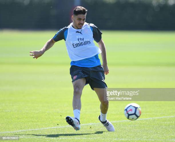 Konstantinos Mavropanos of Arsenal during a training session at London Colney on May 5 2018 in St Albans England