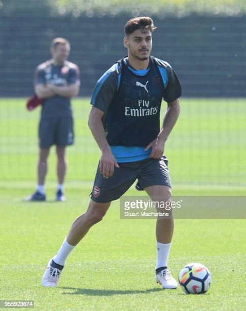 Konstantinos Mavropanos of Arsenal during a training session at London Colney on May 8 2018 in St Albans England
