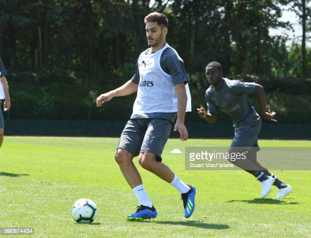 Konstantinos Mavropanos of Arsenal during a training session at London Colney on July 3 2018 in St Albans England