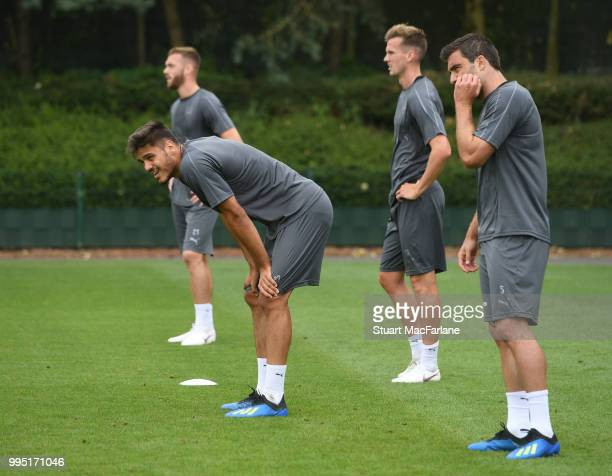 Konstantinos Mavropanos of Arsenal during a training session at London Colney on July 10 2018 in St Albans England