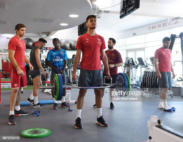 Konstantinos Mavropanos of Arsenal during a training session at London Colney on July 12 2018 in St Albans England