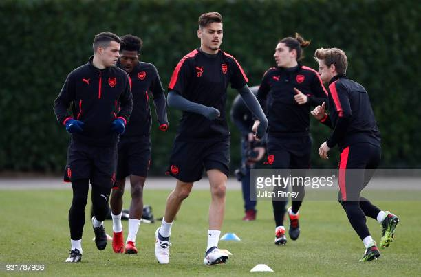 Konstantinos Mavropanos of Arsenal during an Arsenal Training Session ahead of there Europa League 2nd Leg match against AC Milan at London Colney on...