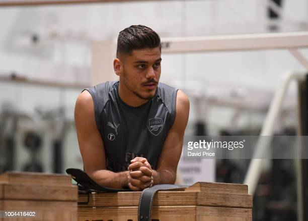 Konstantinos Mavropanos of Arsenal during Arsenal Training Session at Singapore American School on July 24 2018 in Singapore