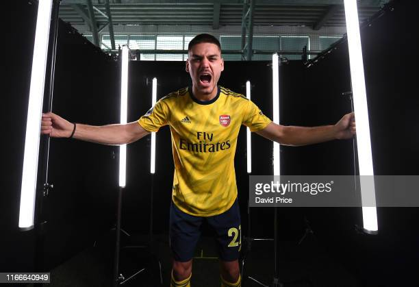 Konstantinos Mavropanos of Arsenal during the Arsenal Media Day at London Colney on August 07, 2019 in St Albans, England.