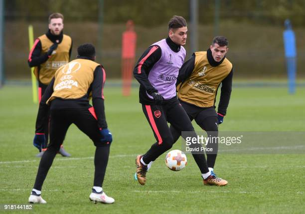 Konstantinos Mavropanos of Arsenal during the Arsenal training session at London Colney on February 14 2018 in St Albans England