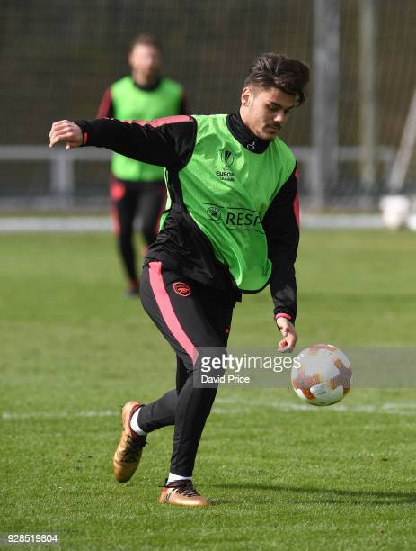 Konstantinos Mavropanos of Arsenal during the Arsenal Training Session at London Colney on March 7 2018 in St Albans England