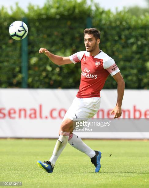 Konstantinos Mavropanos of Arsenal during the match between Arsenal XI and Crawley Town XI at London Colney on July 18 2018 in St Albans England