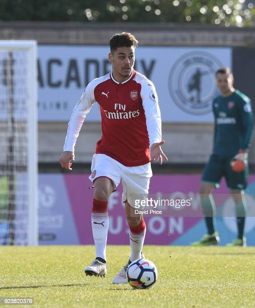 Konstantinos Mavropanos of Arsenal during the match between Arsenal and Dinamo Zagreb at Meadow Park on February 24 2018 in Borehamwood England