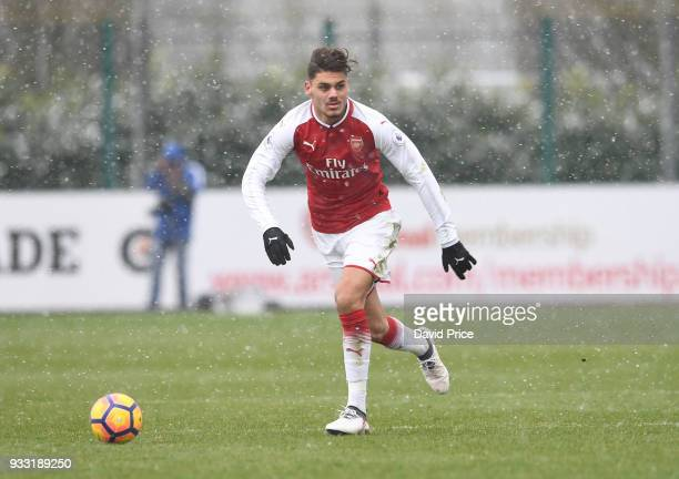 Konstantinos Mavropanos of Arsenal during the match between Arsenal U23 and Chelsea U23 at London Colney on March 17 2018 in St Albans England