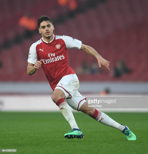 Konstantinos Mavropanos of Arsenal during the match between Arsenal U23 and Villarreal U23 at Emirates Stadium on April 10 2018 in London England