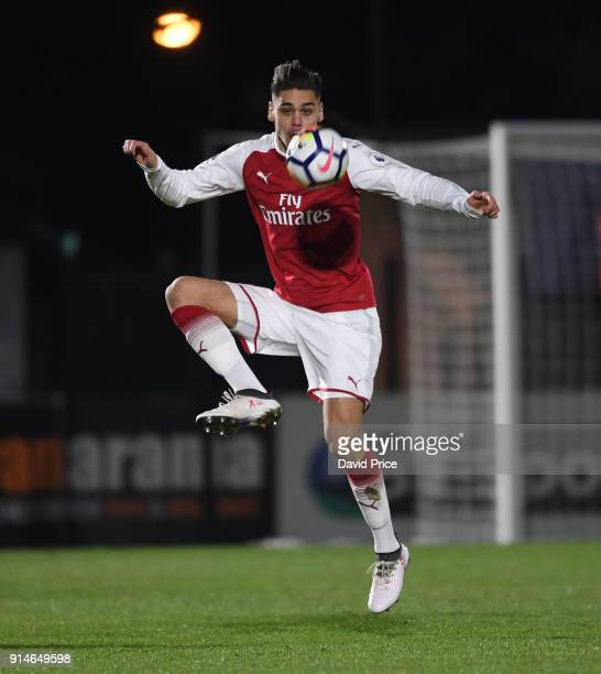 Konstantinos Mavropanos of Arsenal during the Premier League 2 match between Arsenal and Everton at Meadow Park on February 5 2018 in Borehamwood...