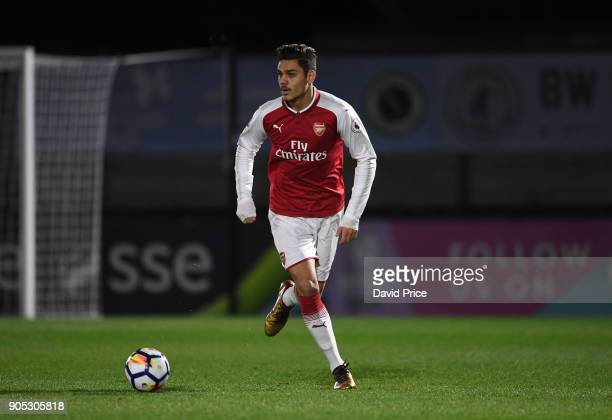 Konstantinos Mavropanos of Arsenal during the Premier League 22 match between Arsenal and Manchester United at Meadow Park on January 15 2018 in...