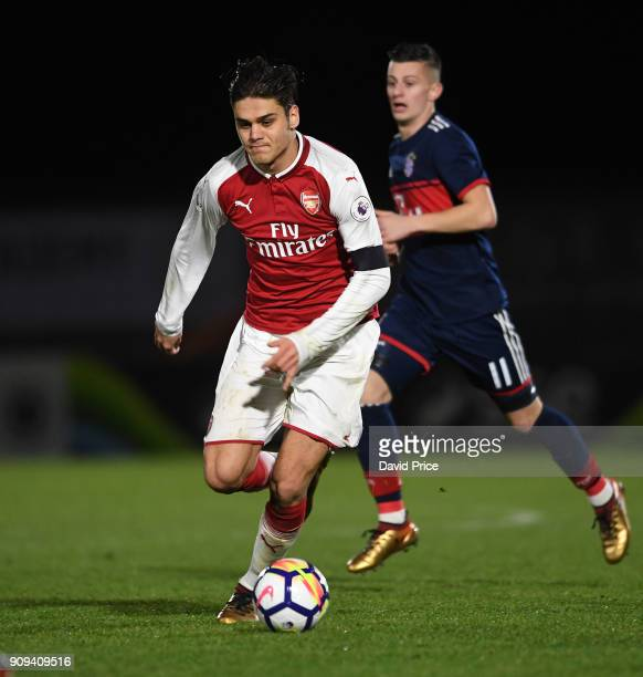 Konstantinos Mavropanos of Arsenal during the Premier League International Cup Match between Arsenal and Bayern Munich at Meadow Park on January 23...