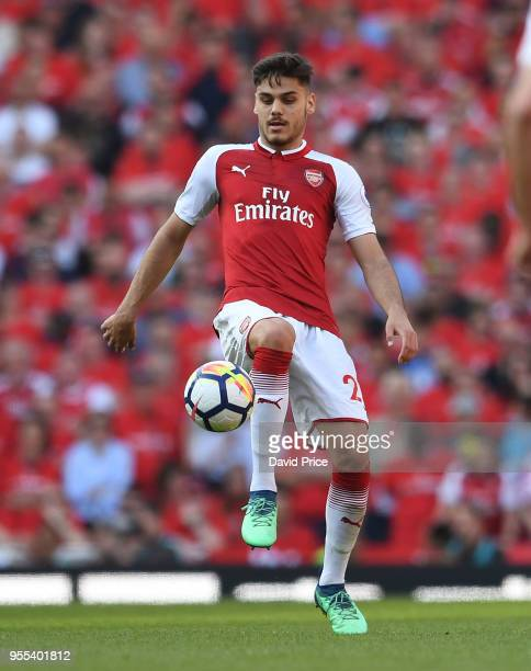 Konstantinos Mavropanos of Arsenal during the Premier League match between Arsenal and Burnley at Emirates Stadium on May 6 2018 in London England
