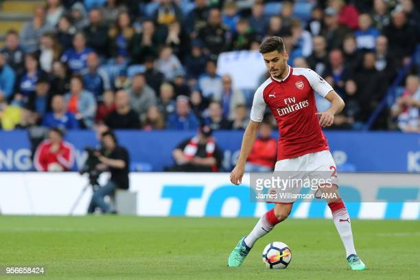 Konstantinos Mavropanos of Arsenal during the Premier League match between Leicester City and Arsenal at The King Power Stadium on May 9 2018 in...