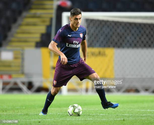 Konstantinos Mavropanos of Arsenal during the Preseason friendly between Arsenal and SS Lazio on August 4 2018 in Stockholm Sweden