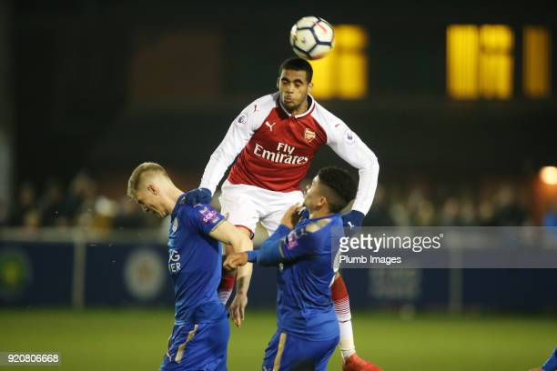 Konstantinos Mavropanos of Arsenal in action during the Premier League 2 match between Leicester City and Arsenal at Holmes Park on February 19th...